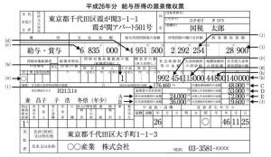 源泉徴収票のサンプル